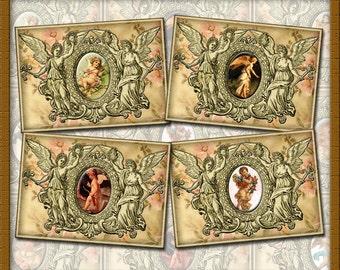 Victorian Angels/Cherubs- Vintage Art Hang/Gift Tags/Cards/Labels -INSTaNT DOWNLoAD- Printable Collage Sheet JPG Digital File