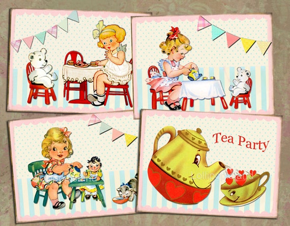 Tea Party - digital collage sheet (no.15) printable for labels, tags, cards, retro children birthday party - Instant Download