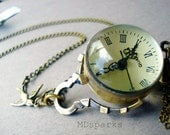 Watch Necklace Jewelry in Antique brass
