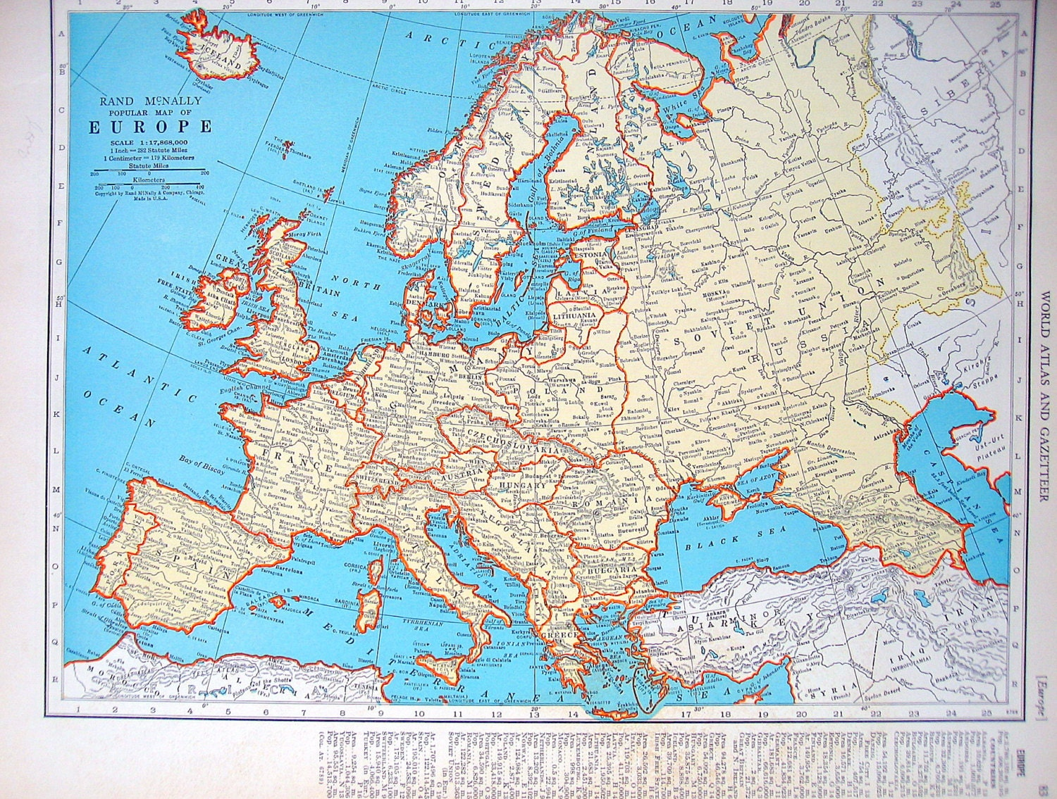 British Isles: Map Of Europe And The British Isles 1937 Vintage Rand