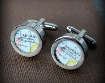 Bahrain Vintage Map Cuff Links - Great Gift