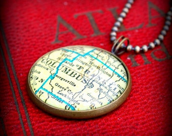 Columbus Map Necklace