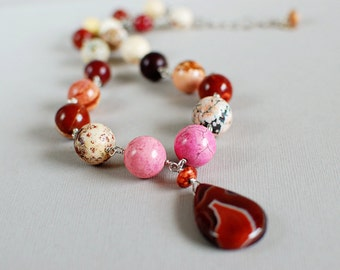 Tickled Pink Agate and Magnesite and Sterling Necklace - Gemstone Necklace - Happy Shack Designs