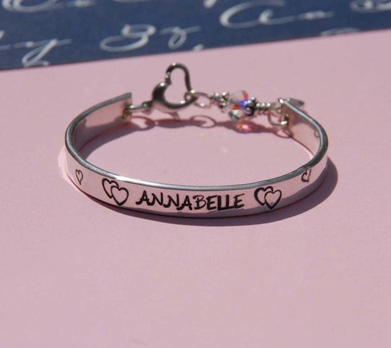 Baby bangle - cuff -bracelet  hand stamped  with birthstone clasp... custom made for your little one.....Perfect for Valentines Day