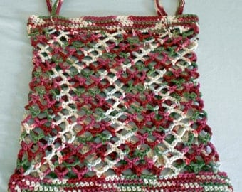 Market Bag Grocery Tote Crocheted with Cotton Yarn