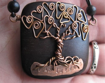 Love Tree Of Life - I am loved - Tiger Ebony Wood and Copper Wire - Whimsical - Unique - Pendant on leather necklace