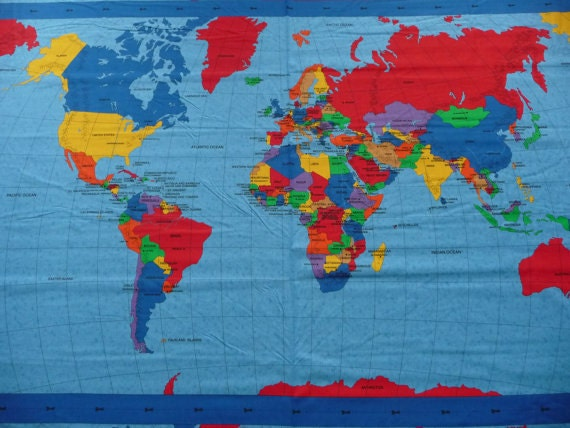 Fabric world map timekeeperwatches gumiabroncs Choice Image