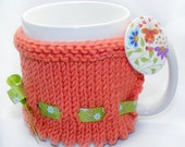 Spring Mug Cosy in peach with large butterfly feature button- great office/birthday gift