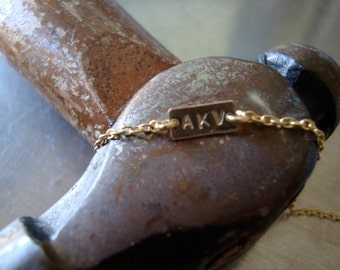 14kt YELLOW Gold Vintage inspired personalized name plate bracelet