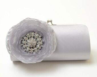 Rhinestone Bridal Clutch Bridesmaid Clutch - Silver Clutch - Kisslock Snap Petite Silver Bouquet Flower Clutch