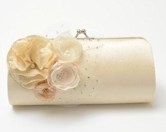 Shabby Chic Bridal Clutch Bridesmaid Clutch - Cream Champagne Clutch - Ivory Cream & Champagne Flower Blossoms - Petite Size Bouquet Clutch