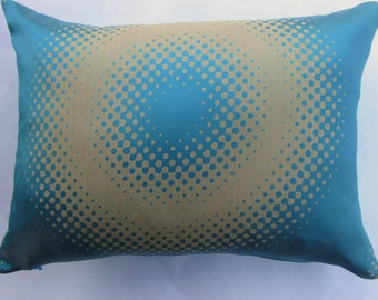 Turquoise and Gold Pillow Cover -- 12 x 16