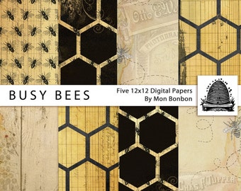 Busy Bees Digital Scrapbooking Background Papers - 12x12 300 ppi - DiY - INSTANT DOWNLOAD