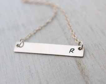 Gold Bar Necklace, Personalized Initial, Keepsake, Mother's, 14k Gold  or Rose Filled