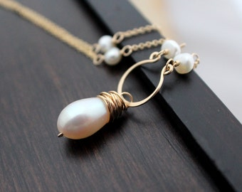 Pearl Gold Necklace, 14k Gold FIlled White Gemstone Pendant, June Birthstone, Wedding