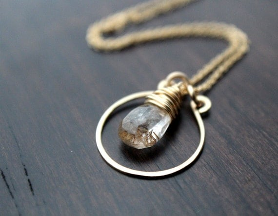 Golden rutilated quartz necklace in 14k gold filled wire for Golden rutilated quartz jewelry