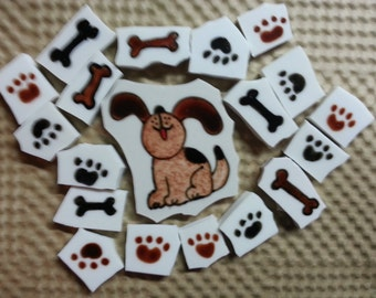 Mosaic Tile DOG PAWS n Bones Mosaic Tiles
