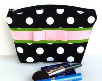 Makeup Bag/Zippered Pouch Bridesmaid Gift Polka Dot Black White Pink Green