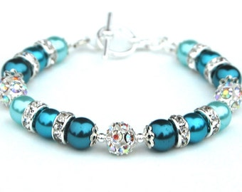 Teal Turquoise Aqua Pearl Rhinestone Bracelet, Turquoise Wedding, Beach Wedding, Summer Wedding Jewelry, Aqua Bridesmaids