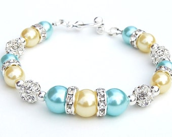 Aqua and Yellow Pearl Rhinestone Bracelet, Bridesmaid Gifts, Summer Jewelry, Beach Wedding, Summer Wedding, Yellow Wedding, Under 30