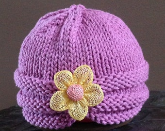 SALE - 25% off Beanie Hat Turban Lilac Button IN STOCK Flower Photo Prop Easter Spring Pantone 2014 Color of the year