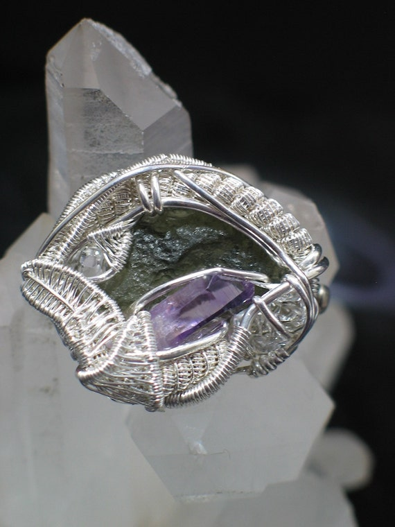 Moldavite and Amethyst Wire Wrapped Brooch Pin