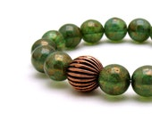Modern Green Copper Beaded Bracelet  / Green Stretch Bracelet / Woodland / Urban - cooljewelrydesign