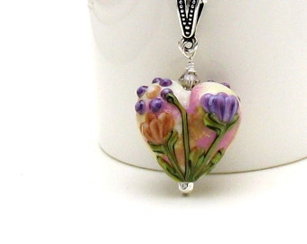 Pink Pastel Floral Heart Lampwork Pendant Necklace, OOAK  For Her Under 125 US Free Shipping Gift Wrap
