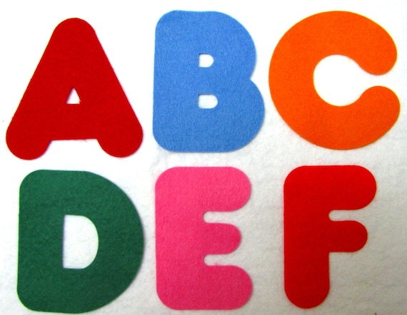 Alphabet letters numbers appliques wool blend felt by for Wool felt letters