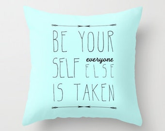 decorative pillow cover-home decor-  light blue- typography- inspiring quote-gift idea-words- modern quote pillow