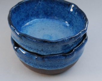 a pair of handmade blue pottery bowls-stoneware  B 16