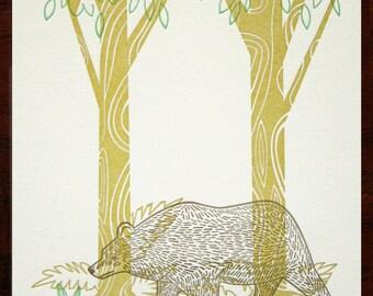 SALE - Forest II Letterpress Print Limited Edition Bear