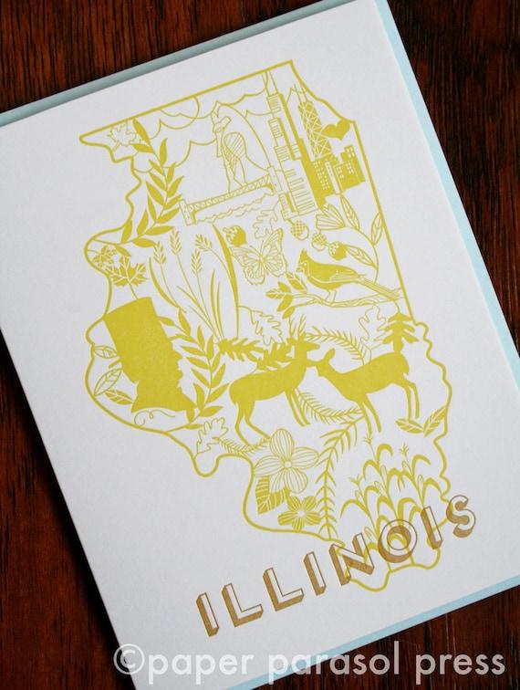 Illinois Letterpress Greeting Card