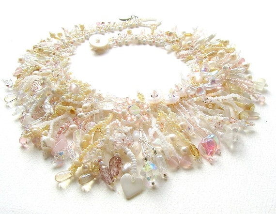 MADE TO ORDER Champagne Garden Collar, beaded statement necklace, bridal jewellery, white wedding necklace
