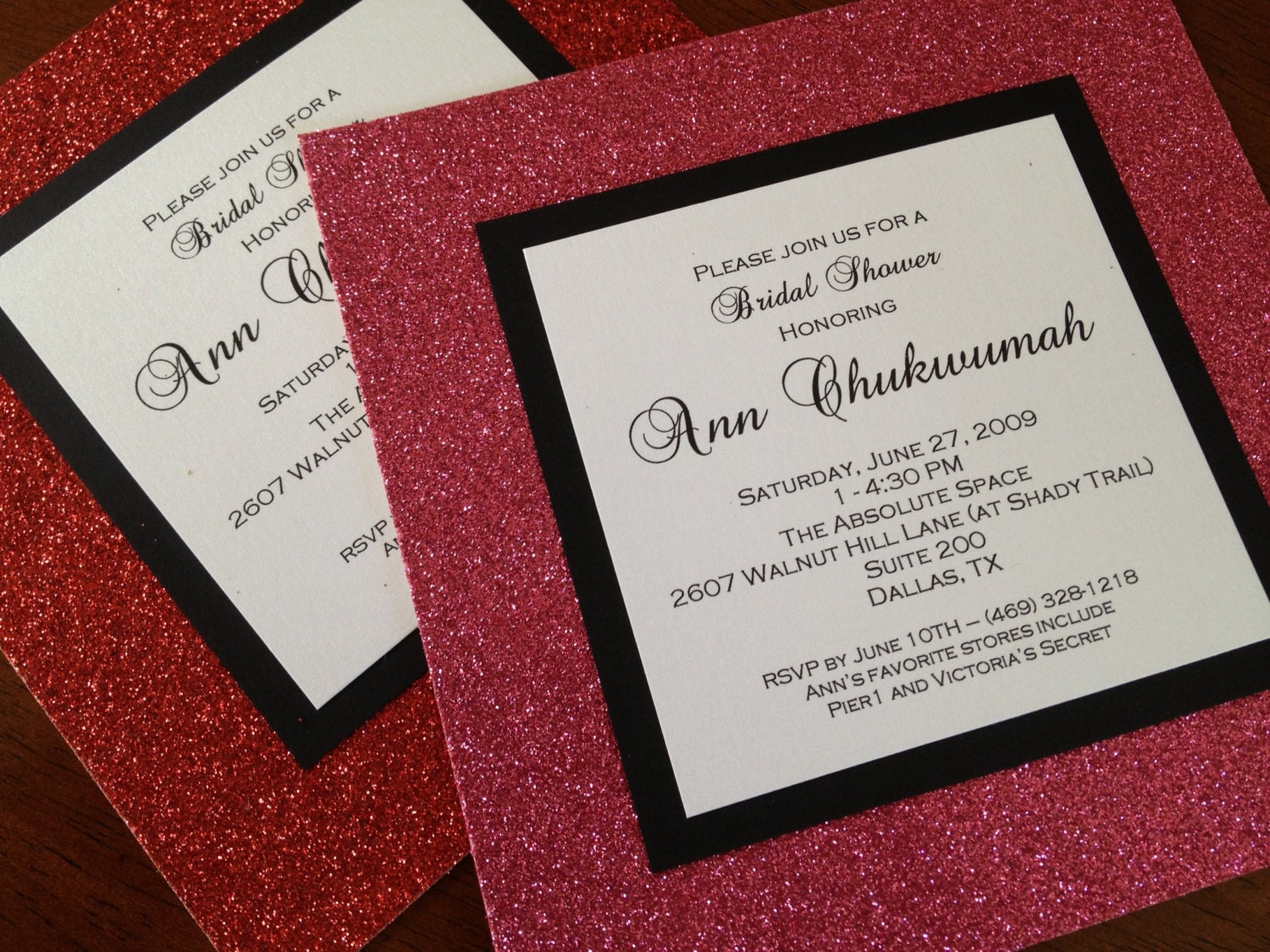 glitter invitation – OnePaperHeart – Stationary & Invitations