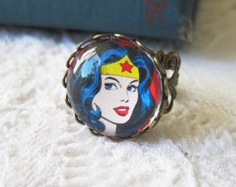 Wonder Woman Antique Brass Adjustable Ring