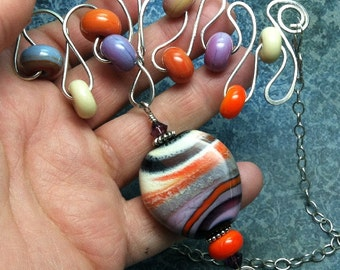 OOAK handmade necklace sterling wire & orange lampwork wire whimsy wild wire series