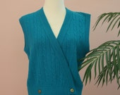 Ladies Turquoise Blue Double Breasted Lambswool Angora Blend Cable Knit Vest Size Small