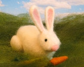Needle Felted Rabbit - Bunny With Carrot