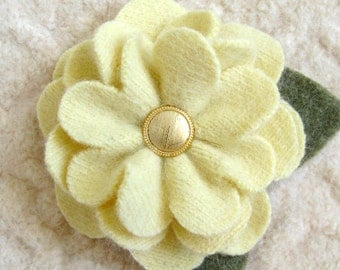 Butter Yellow Zinnia Brooch - Repurposed Sweater Wool Flower Pin