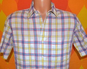 vintage 80s shirt plaid ARROW rainbow short sleeve button down hipster preppy Medium 70s