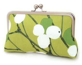 Appleberry clutch bag, handmade silk-lined purse, apple green, chartreuse, white, Scandinavian fabric print, gift box