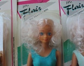Vintage MS FLAIR Fashion Doll - 11.5 inches tall - Curly Blonde Hair - CHOOSE your Suit Color