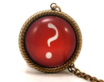 Ask A Question, Question Mark Typographic Pendant Necklace
