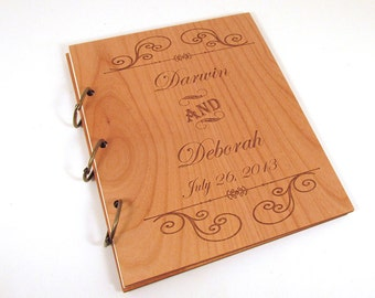 Wooden Wedding Guest Book Photo Album - Formal Scroll Design