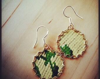 VERDIGRIS Vintage Tea Tin Floral Earrings