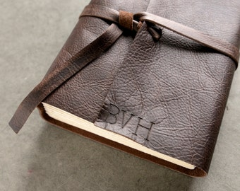 200 Page 6x8 Leather Journal or Sketchbook - Initials - Dark Brown