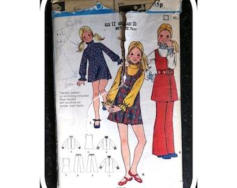 Vintage Paper Pattern - Butterick 6298  - 1970s - Girl's Jumper, Dress, Blouse & Pants - Age 12