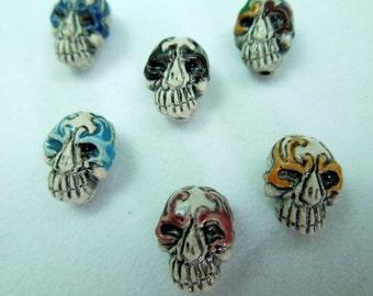 Tiny Colorful Glazed Tribal Skull beads (2)