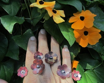 Double flower rings